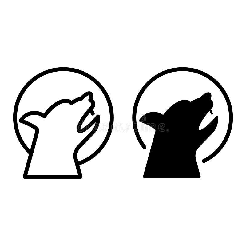 Wolf en de het maanlijn en glyph pictogram Wilde dierlijke vectordieillustratie op wit wordt geïsoleerd Het huilen de stijl van h stock illustratie
