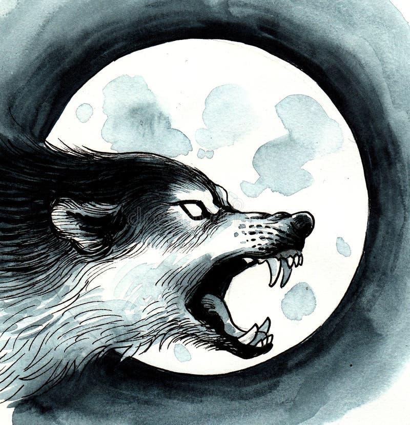 Wolf en de maan stock illustratie