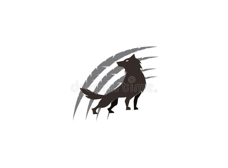 Wolf en klauwen op de hoogste berg voor het ontwerp van de embleemillustratie royalty-vrije illustratie