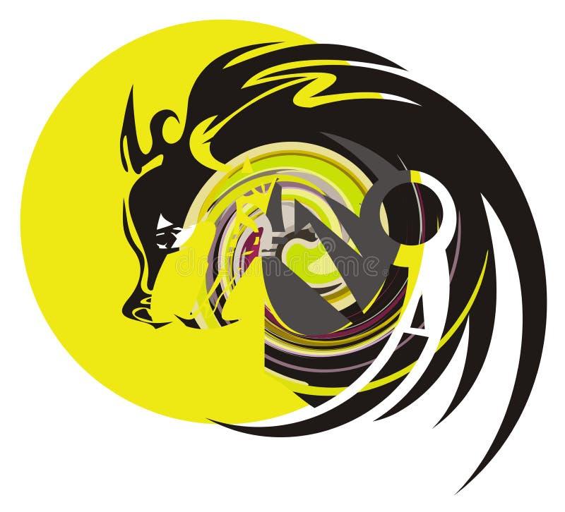 Wolf en maan royalty-vrije illustratie