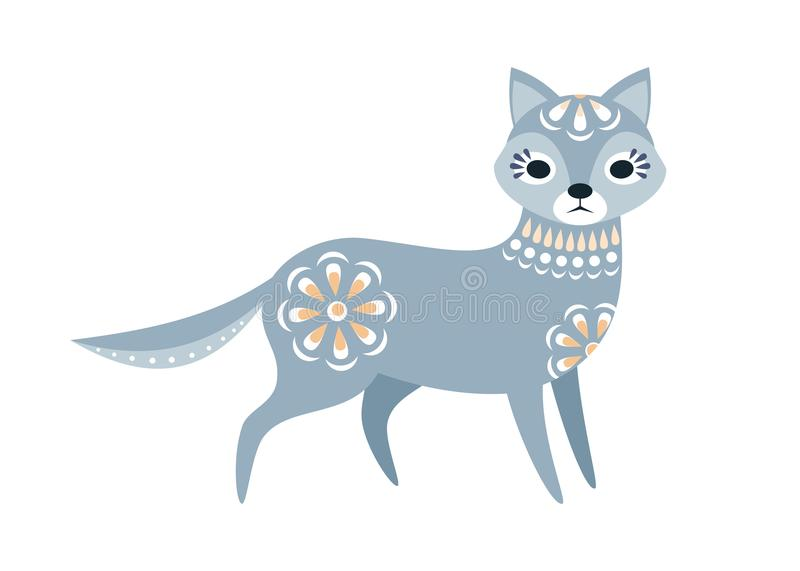 Wolf in ethnic style royalty free illustration