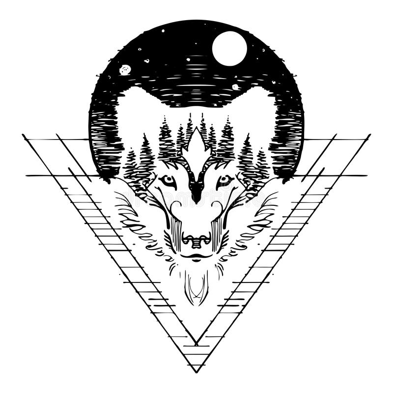 Wolf face double exposure with forest and full moon in night sky design with sketch pen style for tattoo. With white background royalty free illustration