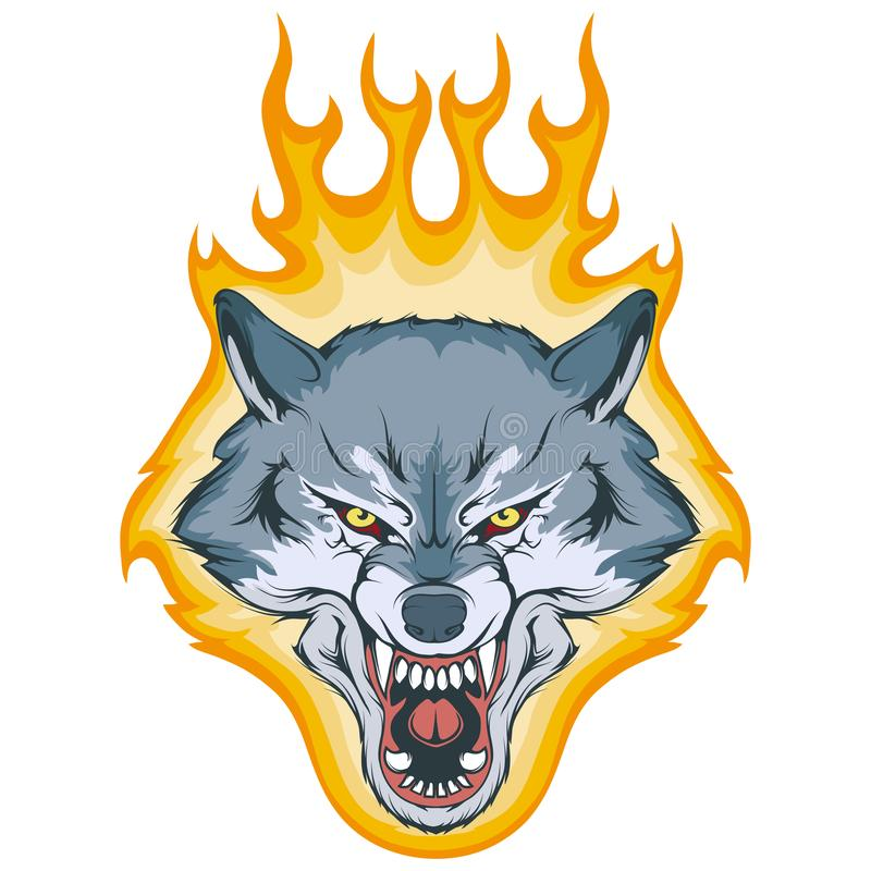Wolf on fire, vector graphic stock illustration