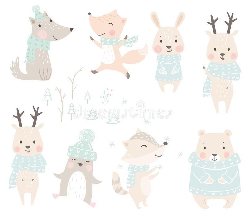 Wolf, fox, bunny, bear, raccoon, reindeer, penguin baby winter set. Cute christmas animal in warm sweater, scarf. stock illustration