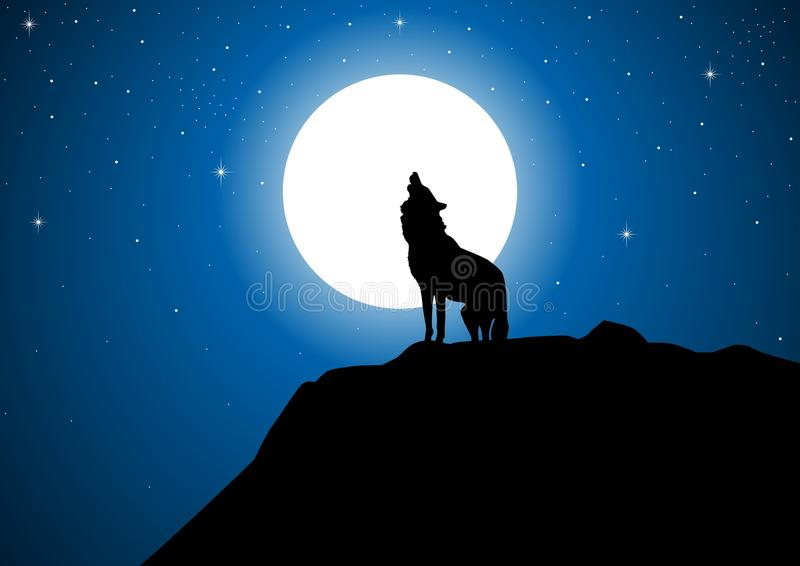 Download Wolf and Full Moon stock vector. Image of full, moon - 17303355