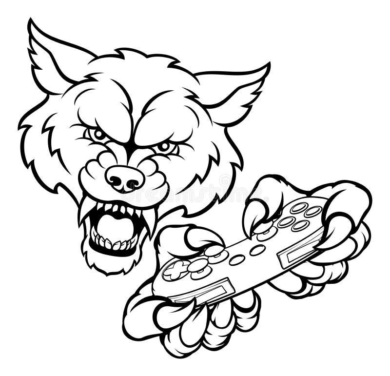 Wolf Gamer Mascot ilustração do vetor
