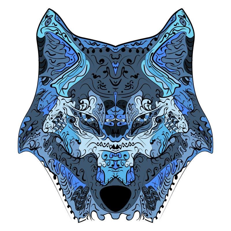 Wolf Haupt-zentangle stilisierte Vektorillustration vektor abbildung