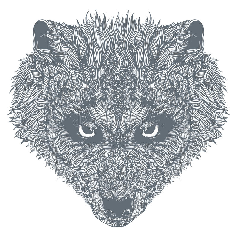 Wolf Head astratto Vettore immagine stock