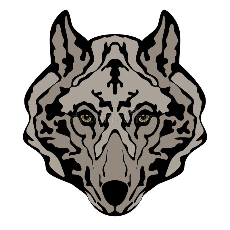 Wolf Outline Face Stock Illustrations