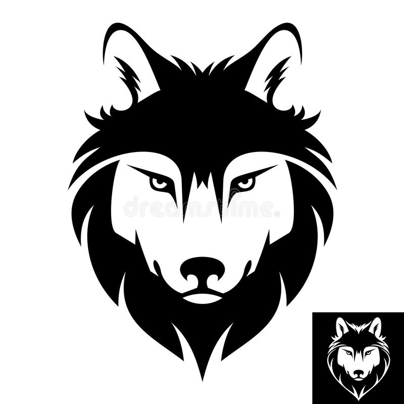 Wolf head logo or icon. This is a Wolf head logo or icon in black and white. This is vector illustration ideal for a mascot and T-shirt graphic. Inversion