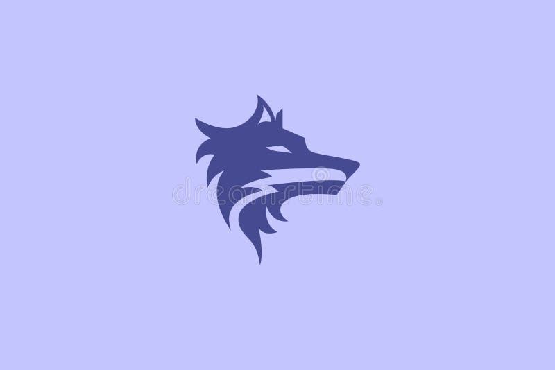 Wolf Head Logo Icon simple stock de ilustración