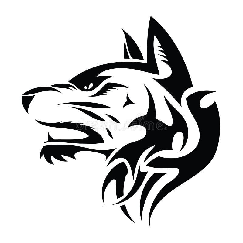 Wolf head - tribal tattoo stock illustration