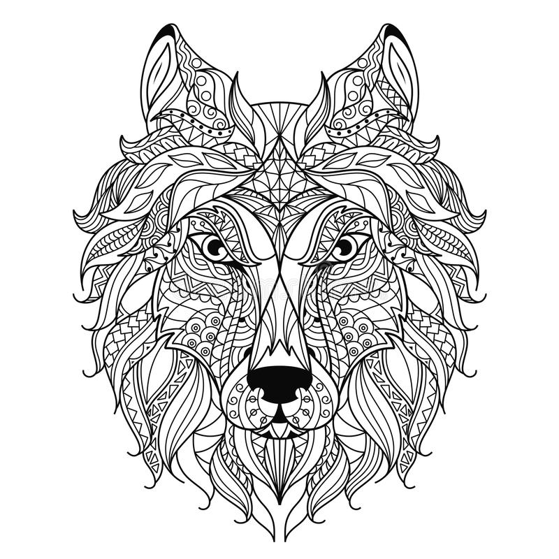 Wolf head zentangle stylized, coloring page. vector illustration