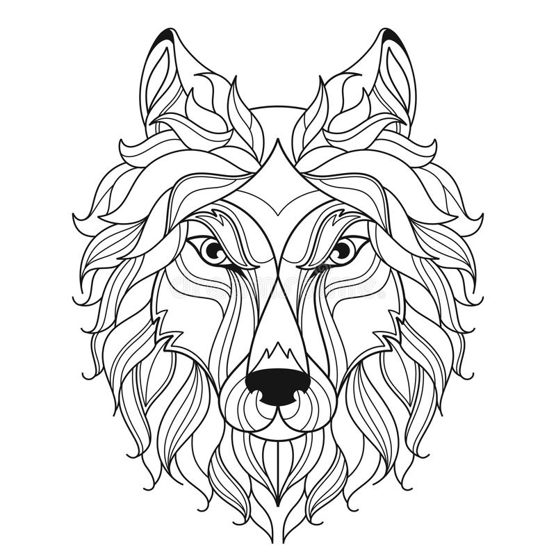 Wolf head zentangle stylized, coloring page. royalty free illustration