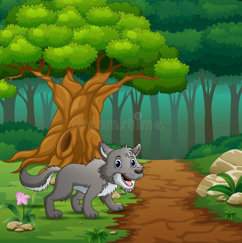 Wolf in het binnenbos royalty-vrije illustratie