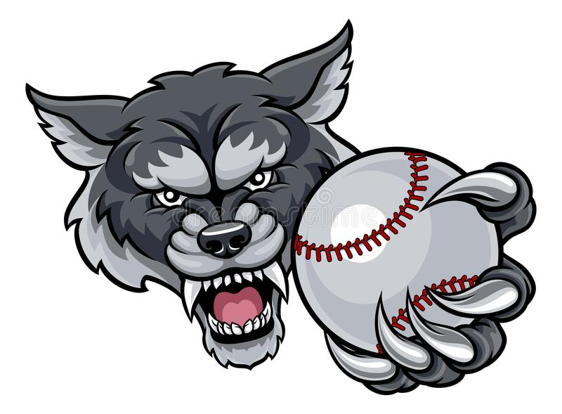Wolf Holding Baseball Ball Mascot libre illustration