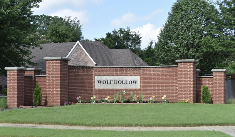 Wolf Hollow Subdivision, Cordova, TN. Wolf Hollow is a suburb is a mixed-use or residential area of Cordova, TN a subdivision of Memphis, TN stock photo