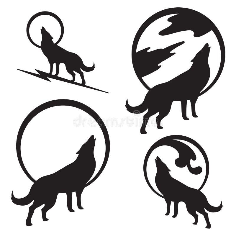 Wolf Howling à la pleine lune illustration de vecteur