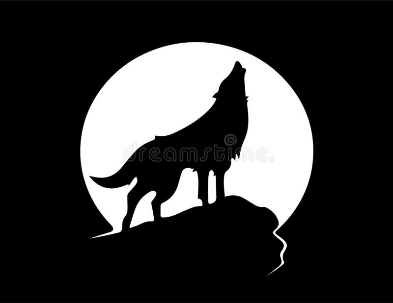Wolf howling banner black and white. Cartoon vector illustration of a black and white wolf howling banner royalty free illustration