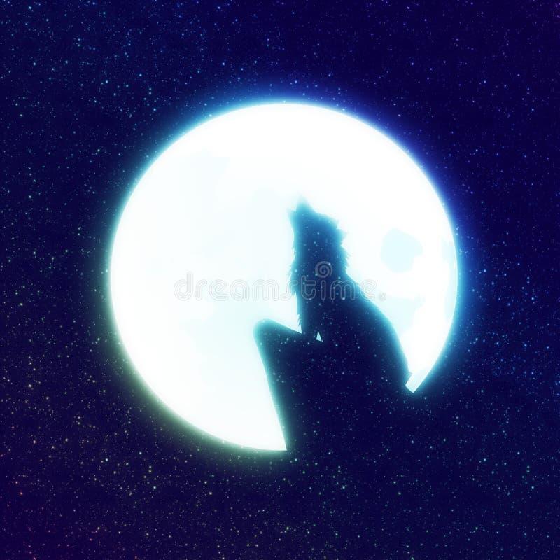 Wolf Howling e cielo stellato illustrazione di stock