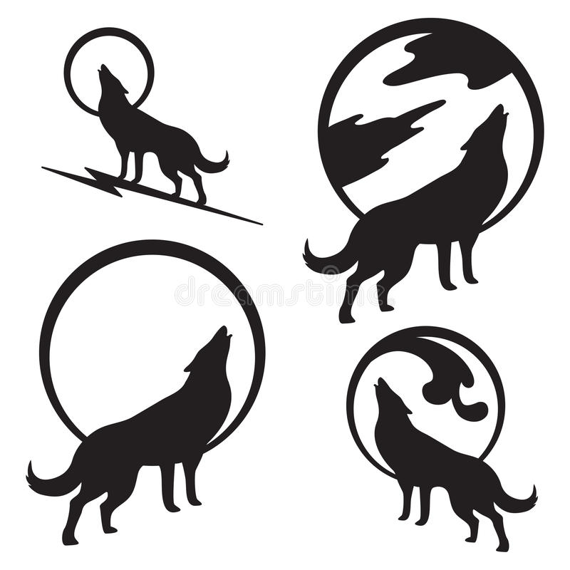 Wolf Howling at Full Moon. Various options of a wolf howling at a full moon. Bold silhouette would be great for use as part of a logo vector illustration