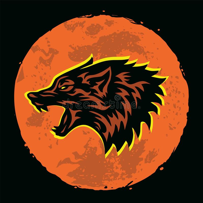 Wolf Howling Logo Moon Background Vector Illustration royalty free stock image
