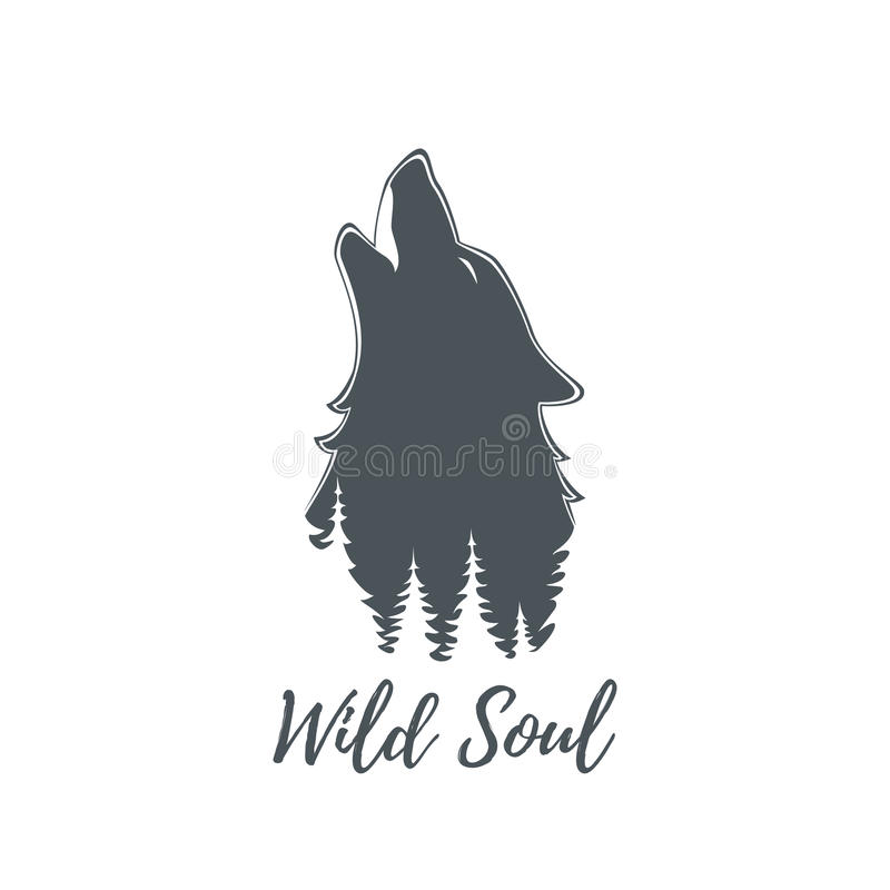 Wolf howling. Logo template. Wolf howling. Brochure poster or logo template. Vector illustration royalty free illustration