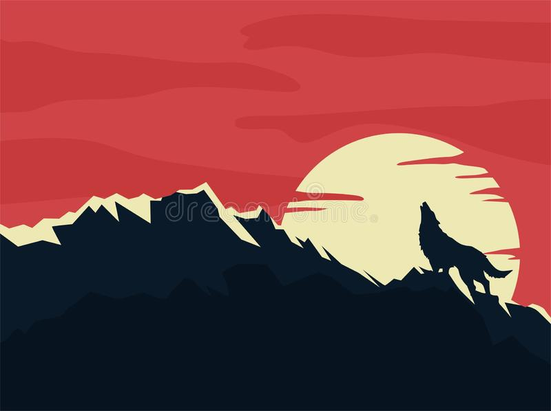 Wolf howling at the moon background. Flat design vector editable stock illustration