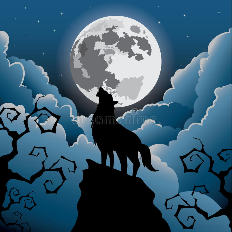 Wolf howling at the moon stock illustration