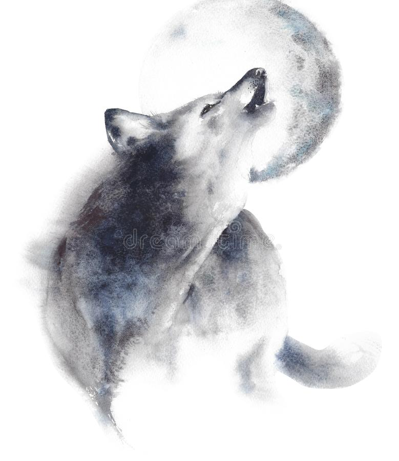Wolf howling at moon wildlife animal watercolor painting illustration isolated on white background stock illustration