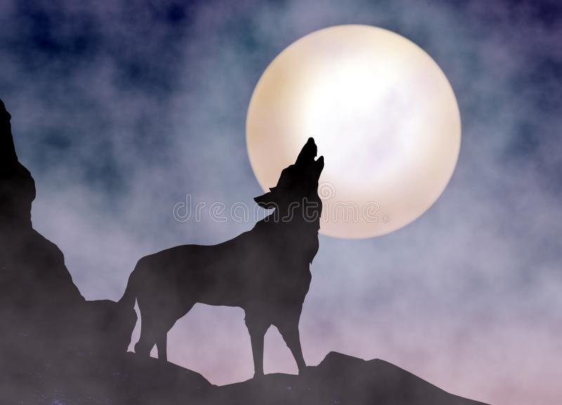 Wolf Howling at Moonlight. With foggy background stock illustration