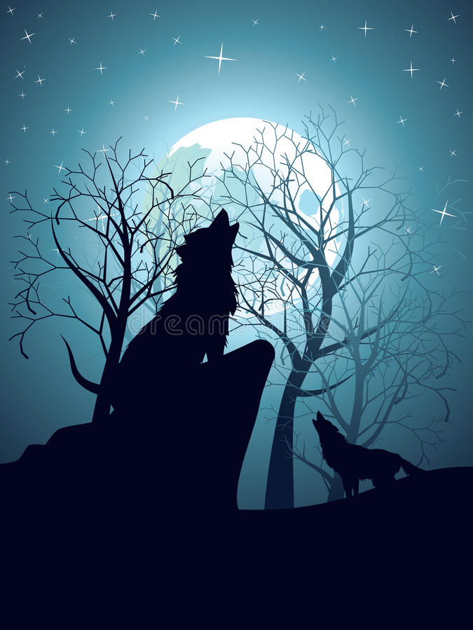 Wolf Howling in the Night Forest. Silhouette of the wolf howling at the moon in the forest at night royalty free illustration
