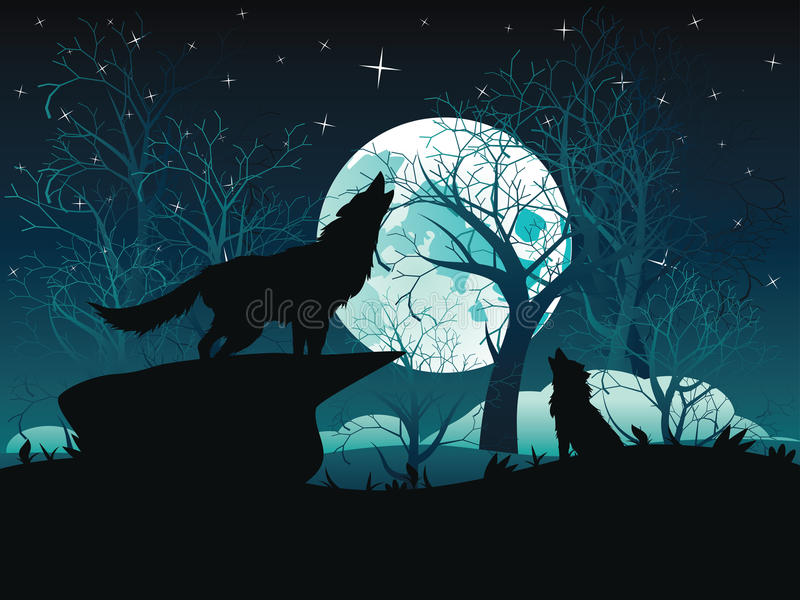 Wolf Howling in the Night Forest. Silhouette of the wolf howling at the moon in the forest at night vector illustration