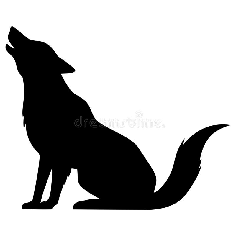 Wolf Howling Silhouette. A vector cartoon illustration of a Wolf Howling Silhouette royalty free illustration
