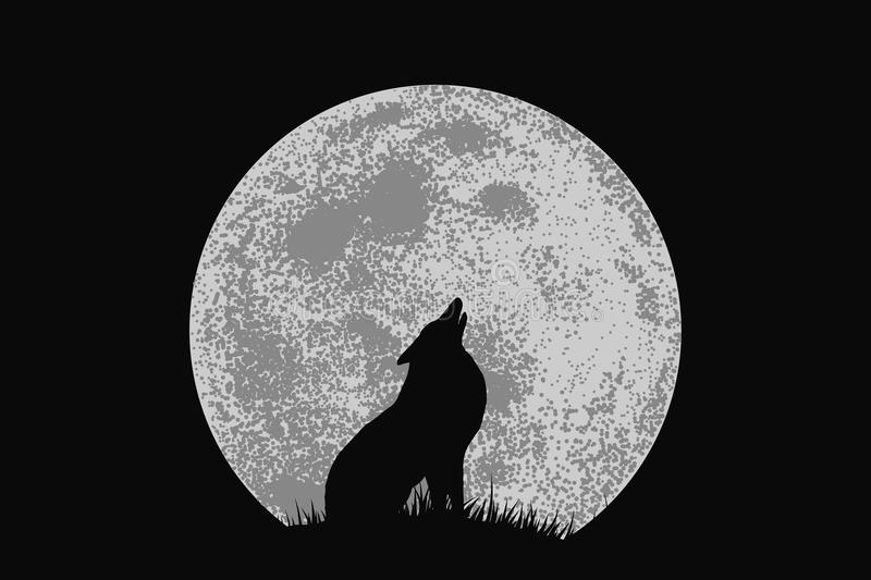 Wolf howling to full moon. Wolf on mountain howling to full moon .Vector illustration royalty free illustration