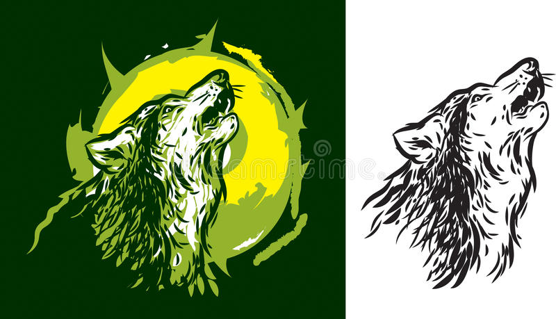 Wolf howling. Vector stylization silhouette of a wolf howling vector illustration