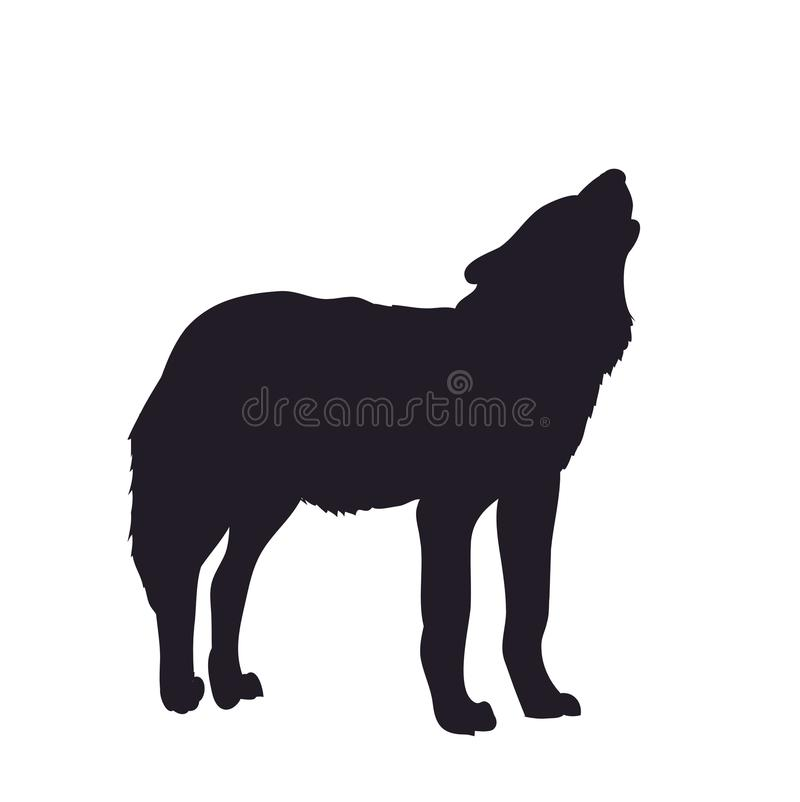 Wolf howls, image silhouette, vector vector illustration