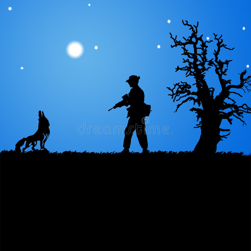Wolf and hunter