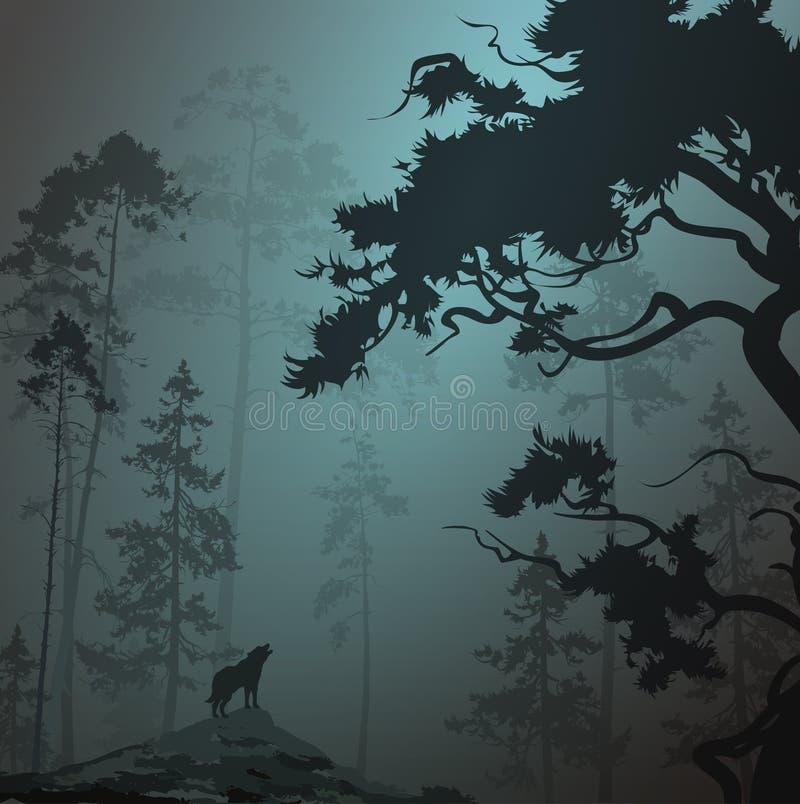 Wolf i skogen vektor illustrationer
