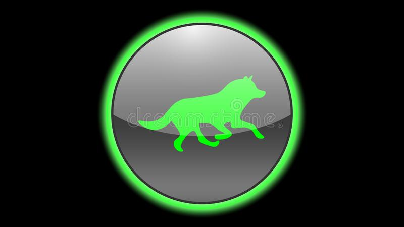 Wolf icon vector design. Green neon icons with animals. Animals icons vector vector illustration