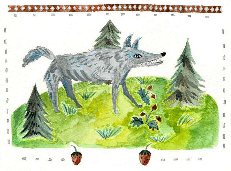 Wolf, illustratie van de beeldverhaal de dierlijke waterverf stock foto