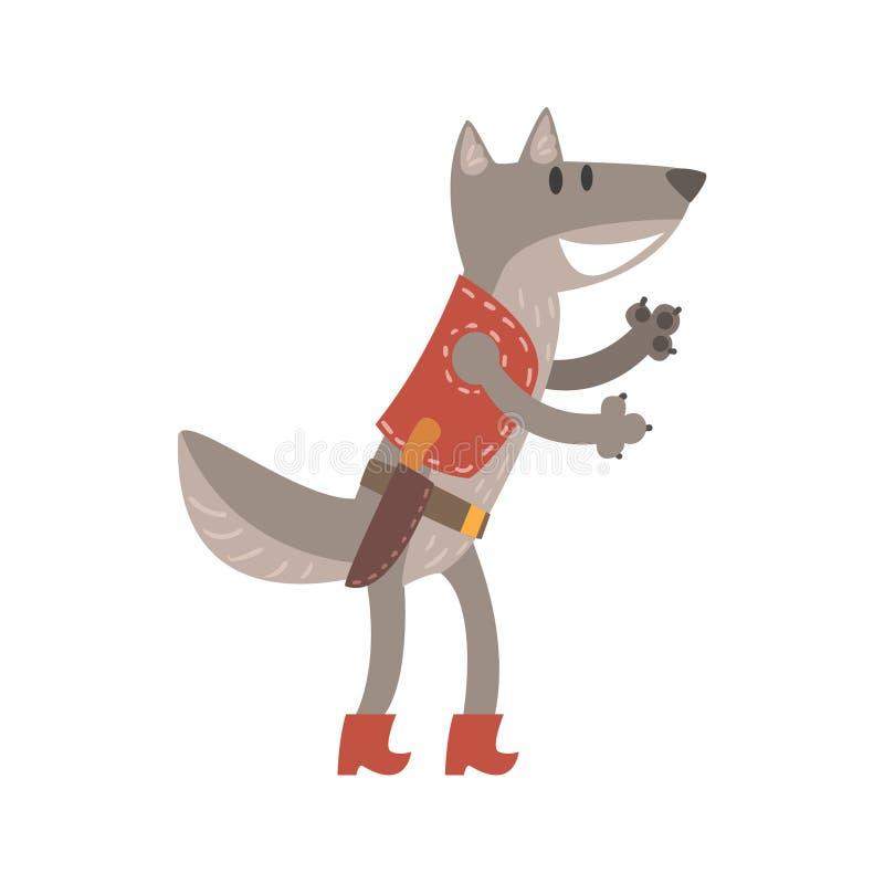 Wolf In Leather Vest With kniv, Forest Animal Dressed In Human kläder som ler tecknad filmteckenet vektor illustrationer