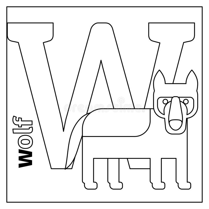 Wolf, letter W coloring page stock illustration