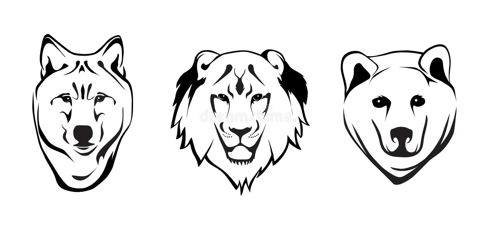 Wolf, Lion and Grizzly Bear. Line Drawing Portrait of three wild animals stock illustration