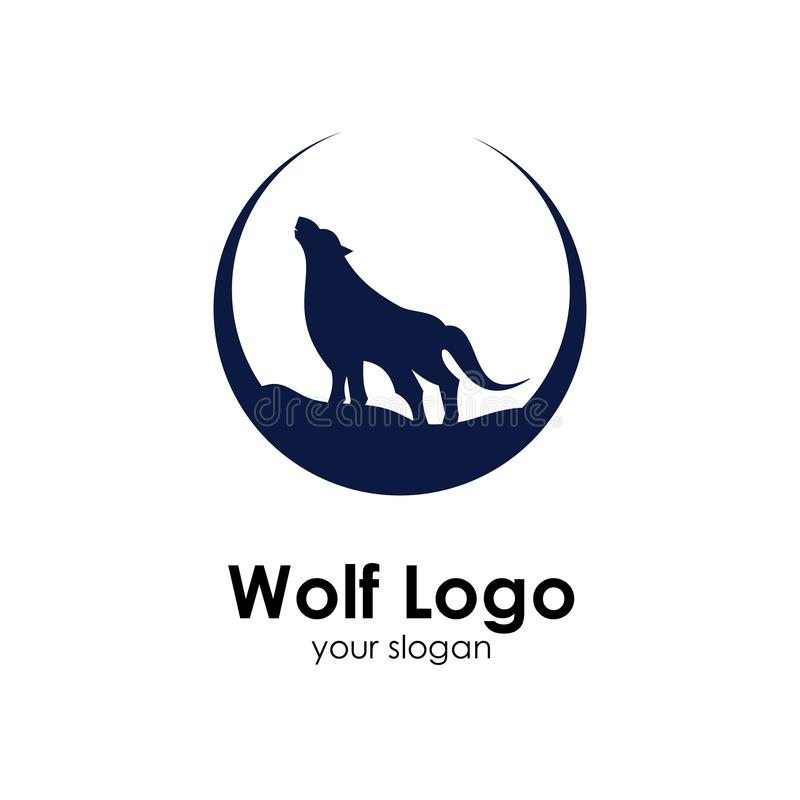 Wolf logo template, design concept vector illustration. Head, icon, emblem, silhouette, abstract, american, animal, art, background, black, business, cartoon stock illustration