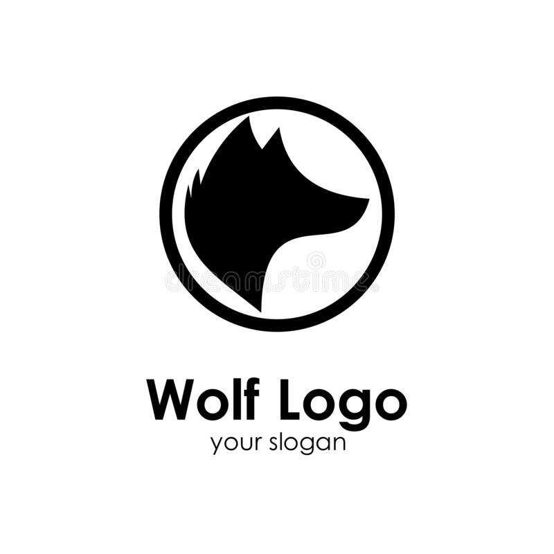 Wolf logo template, design concept vector illustration. Head, icon, emblem, silhouette, abstract, american, animal, art, background, black, business, cartoon vector illustration