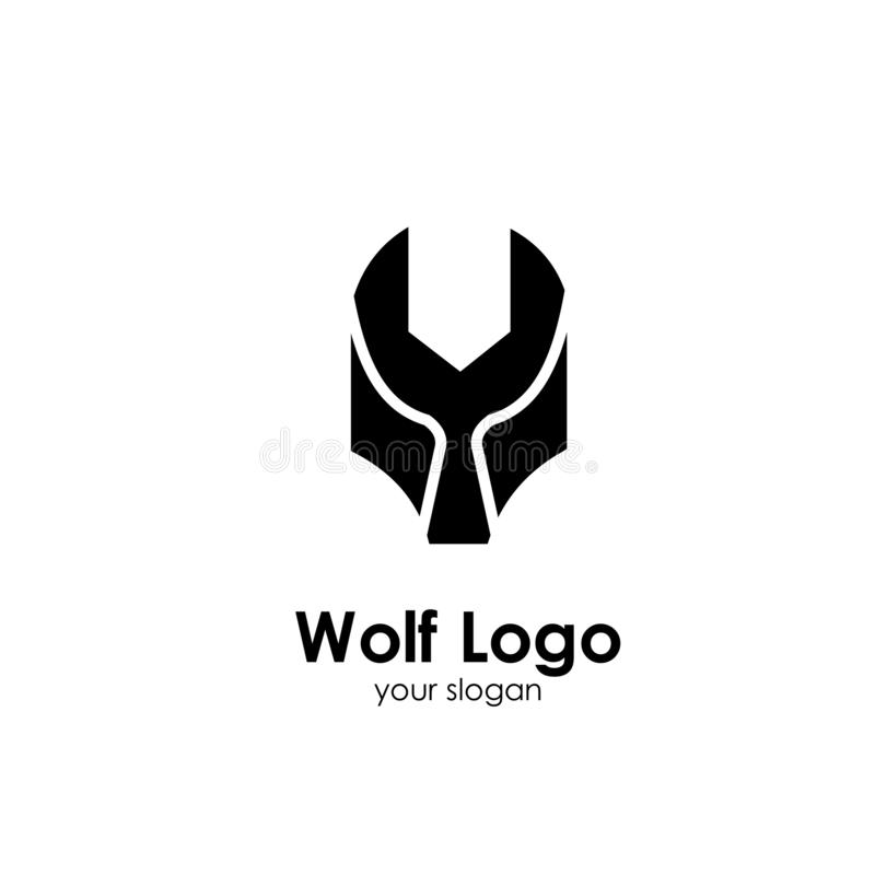 Wolf logo template, design concept vector illustration. Head, icon, emblem, silhouette, abstract, american, animal, art, background, black, business, cartoon royalty free illustration