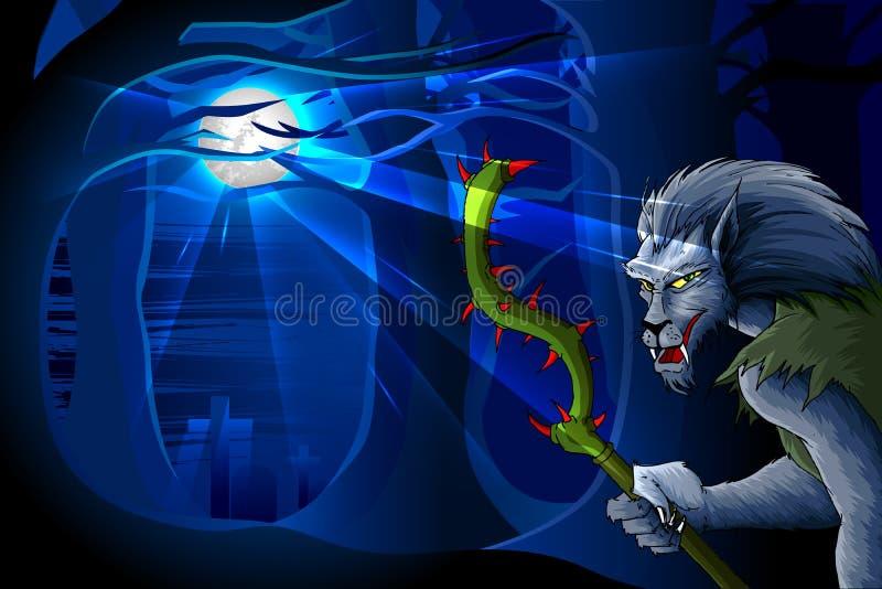 Wolf-Mann In Der Halloween-Nacht Stockbilder