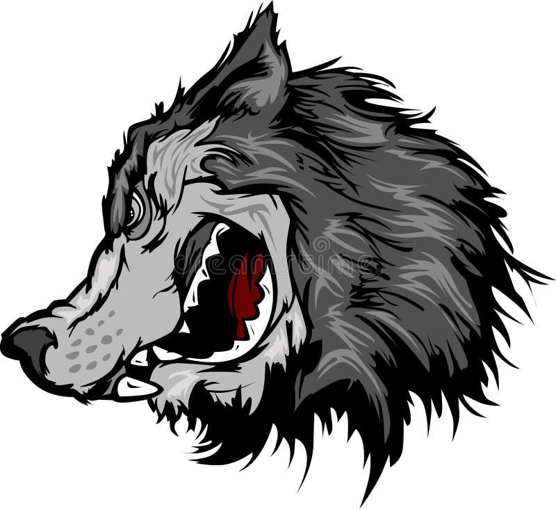 Wolf Mascot Head Cartoon vector illustration