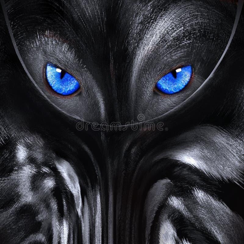 Wolf met blauwe ogen abstracte illustratie royalty-vrije illustratie
